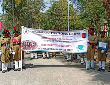 Drill Competition & Anti Pollution Rally were conducted at Thiagarajar Polytechnic College, Salem.11 (TN) SIG COY N C C, Salem organized the events, on 30 Jan 2020. 12 girl NCC Cadets from Vinayaka Mission's Kirupananda Variyar Engineering College participated in the event and won third prizes.