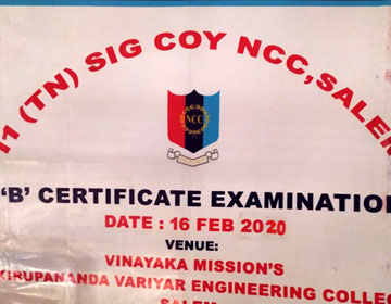NCC 'B' Certificate Examination, on 15 & 16 Feb 2020